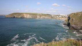 Mawgan Porth coast north Cornwall England near Newquay and south of Porthcothan PAN stock video footage
