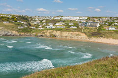 Mawgan Porth Cornwall England north coast near Newquay summer day with blue sky Stock Photography