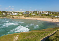 Mawgan Porth north Cornwall England near Newquay summer day with blue sky Stock Photos