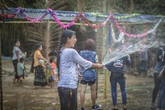 Asia Myanmar Water Festival stock photos