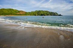 Mawun海滩,龙目岛,印度尼西亚海景视图  免版税库存图片