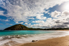 Mawun strand som lokaliseras i sydliga Lombok, Indonesien Arkivfoton