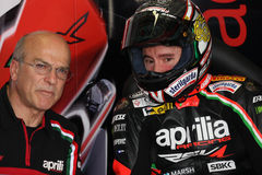 Max Biaggi Aprilia RSV4 Aprilia Racing Team royalty free stock photos