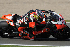 Max biaggi at full lean, WSBK 2012 Stock Photos