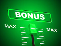 Max Bonus Indicates Upper Limit And Added Stock Image