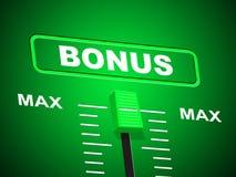 Max Bonus Indicates Upper Limit et supplémentaire Image stock