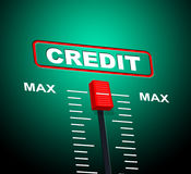 Max Credit Means Debit Card en Bankkaart stock illustratie