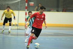 Max - Era Pack Chrudim futsal. Max Weber Prates Goncalves Ribeiro from ERA Pack Chrudim in the final of czech futsal league between Bohemians Prague and ERA Pack Royalty Free Stock Photos
