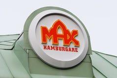 Max hamburger sign. Sodertalje, Sweden - Mars 5: Max hamburger sign, Signs of one of the biggest Swedish hamburger chains from the 1950 s royalty free stock image