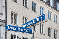 Max-Joseph-Platz street sign in Munich, Germany Royalty Free Stock Photography