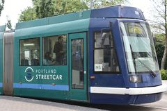 MAX Light Rail Streetcar in Portland, Oregon stock image
