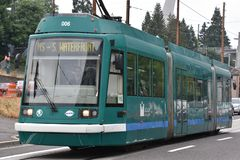 MAX Light Rail Streetcar in Portland, Oregon stock photos