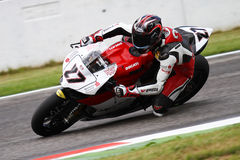 Max Neukirchner #27 on Ducati 1199 Panigale R MR-Racing Superbike WSBK. Max Neukirchner #27 riding Ducati 1199 Panigale R with MR-Racing at World Superbike stock image