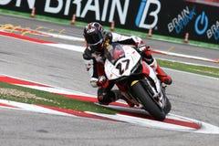 Max Neukirchner #27 sur le Superbike 1199 de M.-emballage de Ducati Panigale R WSBK Photos stock