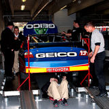 Max Papis. Crew members take the #13 GEICO Toyota, driven by Max Papis, through inspection for the NASCAR Sprint Cup Series Samsung 500, at the Texas Motor Stock Images