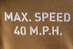 Max prędkość 40 m.p.h. Obrazy Stock