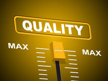Max Quality Indicates Approval Ceiling y certifica Foto de archivo