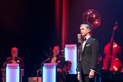 Max Raabe performing live with the Palast Orchester royalty free stock photos