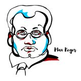 Max Reger Portrait stock illustration