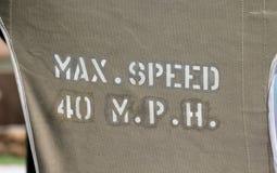 Max Speed 40 MPH Arkivbilder