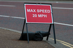 Max speed sign. A temporary speed sign due road work Royalty Free Stock Photo