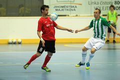 Max and Tomas Koudelka - futsal. Max from ERA Pack Chrudim and Tomas Koudelka from Bohemians Prague in the final of czech futsal league between Bohemians Prague Royalty Free Stock Images