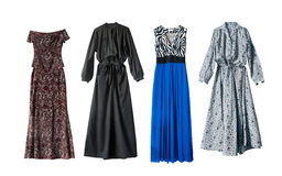 Maxi dresses. Four beautiful maxi dresses on white background stock photography