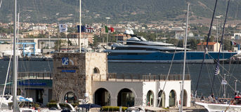 MAXI YACHT IN OLBIA  Stock Photography