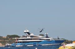 Maxi yacht in costa smeralda sardinia Stock Photos
