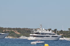 Maxi yacht with helicopter Stock Photo