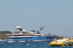 Maxi yacht with helicopter Stock Image