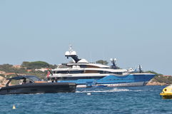 Maxi yacht with helicopter Royalty Free Stock Photography