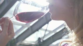 Maxilar inferior de la mujer rubia bastante elegante con el vino tinto de consumici?n del pelo rizado del alto vidrio en cierre d almacen de metraje de vídeo