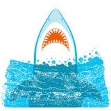 Maxilas do tubarão Ilustração azul do fundo do vetor ilustração royalty free