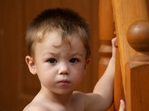 Maxim. Portrait of little boy two years old, serious and displeased Royalty Free Stock Images