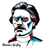 Maxim Gorky Portrait stock illustrationer