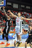 Maxim Grigoriev reaches for a jump ball Royalty Free Stock Images