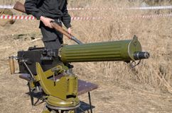 The Maxim gun-the founder of the automatic weapon. stock images