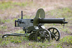 Maxim machine gun of of the second world war on the grass. Stock Photo