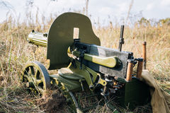 Maxim`s Machine Gun Model 1910 30 On A Wheeled Vladimirov`s Mount. Dyatlovichi, Belarus - October 1, 2016: Maxim`s Machine Gun Model 1910 30 On A Wheeled Stock Photo