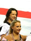 Maxim Shabalin and Oksana Domnina. ISU European Figure Skating Championship 2010 in Tallinn, Estonia. Maxim Shabalin and Oksana Domnina from Russia after victory Royalty Free Stock Images