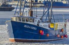 Maximal fiskebåt & Emma på den Acushnet floden Fotografering för Bildbyråer