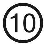 Maximal teckenlinje symbol för hastighetsbegränsning 10 Royaltyfria Bilder