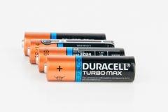 Maximale alkalische AA Batterie Duracells Turbo Lizenzfreies Stockfoto