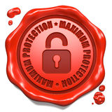 Maximaler Schutz - Stempel auf rotem Wachssiegel. Lizenzfreies Stockfoto