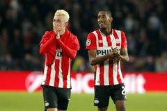 Maxime Lestienne and Joshua Brenet PSV Eindhoven Stock Photos