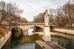 Maximilian Bridge over Isar River in Munich Stock Image