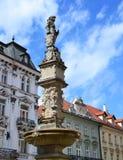 Maximilian Fountain. At Main Square (Hlavne namestie) in Bratislava, Slovakia Royalty Free Stock Photo
