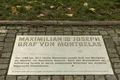 Memorial plate for Maximilian Joseph graf von Montgelas in Munich. Maximilian Josef Garnerin, Count von Montgelas September 12, 1759 Munich – June 14 stock image
