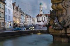 Maximilian Street and Hercules Fountain in Augsburg at night Royalty Free Stock Photos